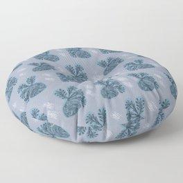 Dreamy Blue Plants Pattern Floor Pillow