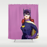 batgirl Shower Curtains featuring Batgirl by Rabassa