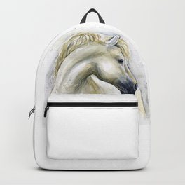White Horse Watercolor Painting Animal Horses Backpack