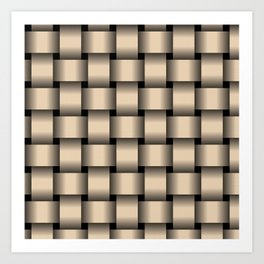 Large Bisque Brown Weave Art Print