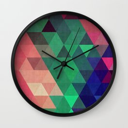Blue and green triangles Wall Clock