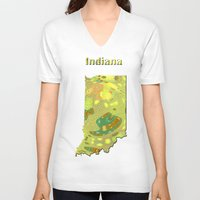 indiana V-neck T-shirts featuring Indiana Map by Roger Wedegis