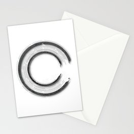 Grey abstract enso circle with mystical out of space look Stationery Cards