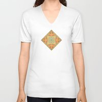 deco V-neck T-shirts featuring Deco abstraction by Steve W Schwartz Art