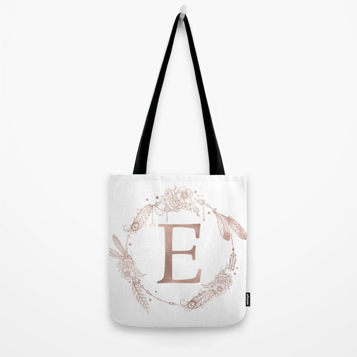 Letter E Rose Gold Pink Initial Monogram Tote Bag