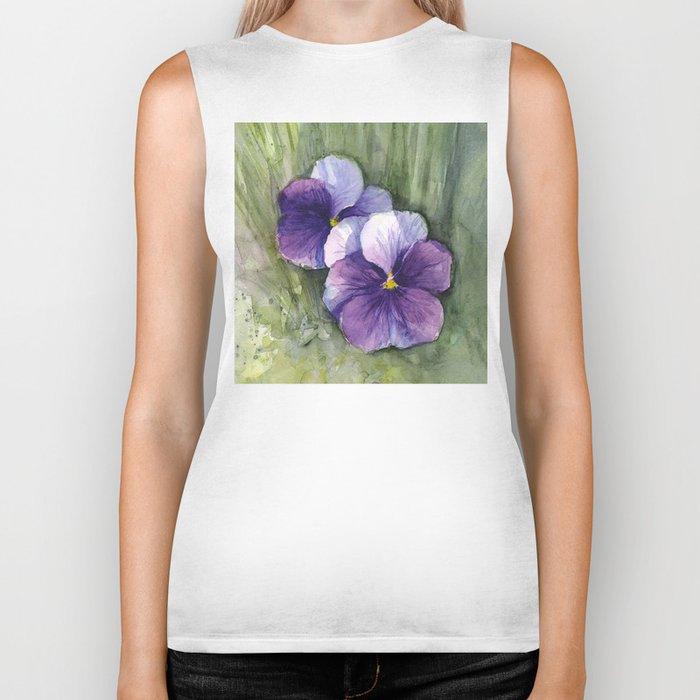 Purple Pansies Watercolor Flowers Painting Violet Floral Art Biker Tank