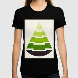 Sap Green Watercolor Minimalist Mid Century Modern Tribal Aztec Pyramid Pattern T-shirt