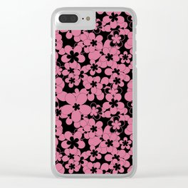 Floral black pink pattern Clear iPhone Case