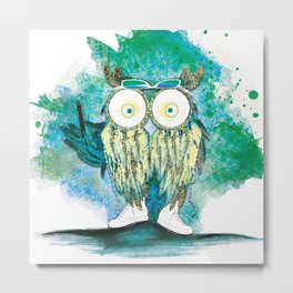 Watercolor Dreamcatcher Owl Metal Print