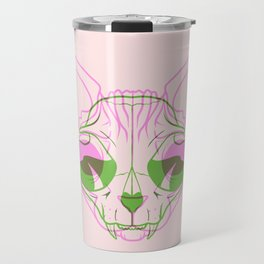Sphynx Skull - Double Exposure - Pink and Green Travel Mug