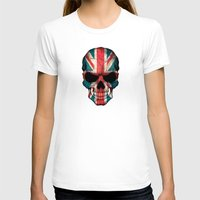 british flag T-shirts featuring British Flag Skull on Black by Jeff Bartels