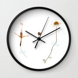 Wild flower triptych Wall Clock