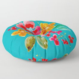 Red Poppy and Wildflowers Floor Pillow