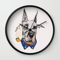 great dane Wall Clocks featuring Mr. Great Dane by dogooder