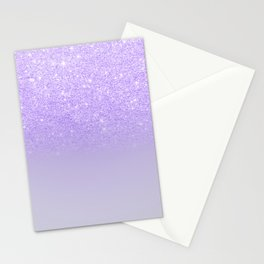 Modern purple sparkles ombre glitter lilac pastel color block Stationery Cards