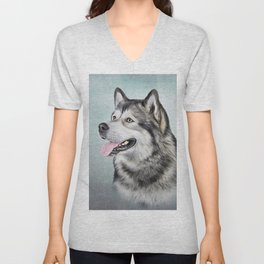 Drawing Dog Alaskan Malamute Unisex V-Neck
