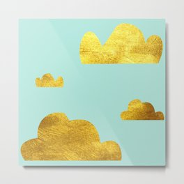 Gold cloud blue Metal Print