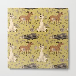 Summer Goat Pattern Metal Print