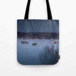 Ice Fishing on Fish Hook Lake Tote Bag