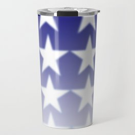 Blue and White Stars, Blue Faded Background With White Stars Travel Mug