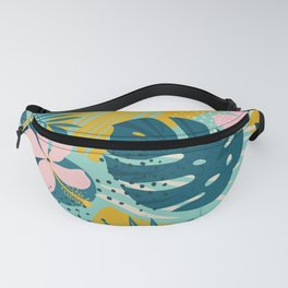 Hawaii Pastel Pink & Mint Green Tropical Floral-Prints Fanny Pack