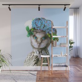 Cool Animal Art - Owl with a Flower Crown Wall Mural