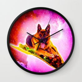 Outer Space Galaxy Dog Riding Taco Wall Clock
