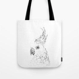 Sulphur Crested Cockatoo - Black and White Portrait Tote Bag