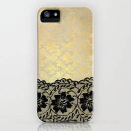 Black floral luxury lace on gold damask pattern iPhone Case