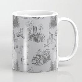 Eurasian Wolf Toile Pattern (Gray) Coffee Mug