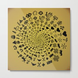 Mandala of Love Symbols from Ancient Cultures on Papyrus Metal Print