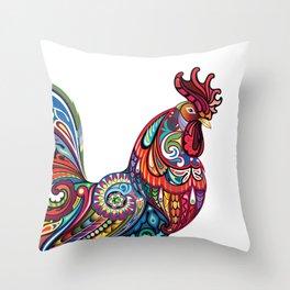 Bright Cockerel Throw Pillow