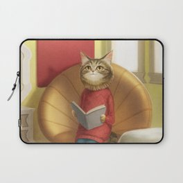 A cat reading a book Laptop Sleeve