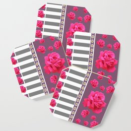 MODERN  PINK ROSES ON PUCE COLOR ART Coaster
