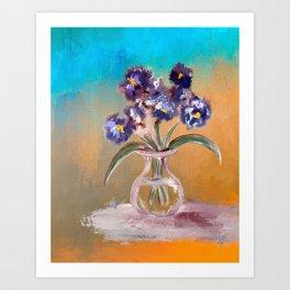 Purple And Blue Pansies In Glass Vase Art Print