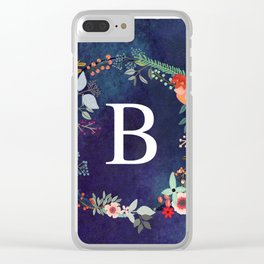 Personalized Monogram Initial Letter B Floral Wreath Artwork Clear iPhone Case