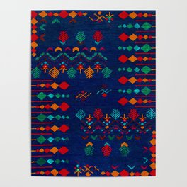 -A17- Anthropologie Moroccan Blue Artwork. Poster