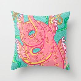 Mermaid pink tail Throw Pillow