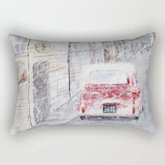 Snowfall and little red car Rectangular Pillow