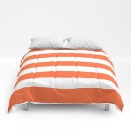 Smashed Pumpkin - solid color - white stripes pattern Comforters