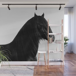 Black beauty Friesian stallion Wall Mural