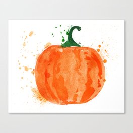 Watercolor Pumpkin Canvas Print