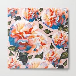 Big flowers blue & orange Metal Print
