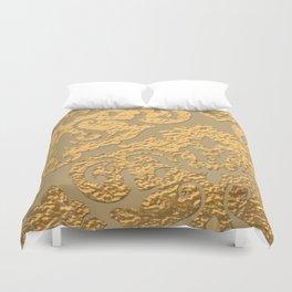 Gold Metallic Damask Print Duvet Cover
