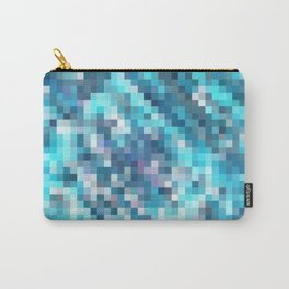 geometric square pixel pattern abstract in blue Carry-All Pouch