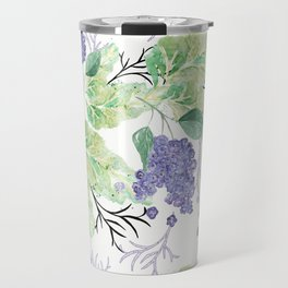 Lilac flowers on a white background. Travel Mug