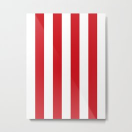 Vertical Stripes - White and Fire Engine Red Metal Print