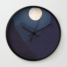 The Mountains At Night Wall Clock
