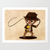indiana jones Art Prints featuring Indiana Jones by Delucienne Maekerr