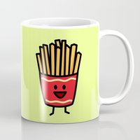 french fries Mugs featuring Happy Fries by Berenice Limon